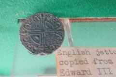 English Jetton made into  brooch copied from a coin of Edward III