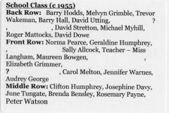 First School 1955 names